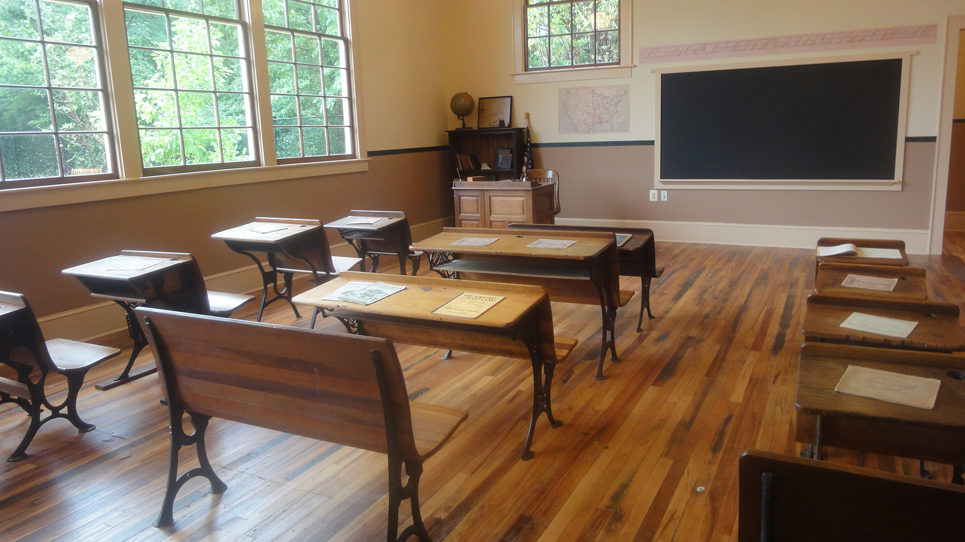 An interior image of the Ridgeley Rosenwald School after its restoration. It was built in 1927 to serve the Black community in Capitol Heights. In 2011 it was restored and reopened as a museum. This site was selected for Endangered Maryland in 2007.